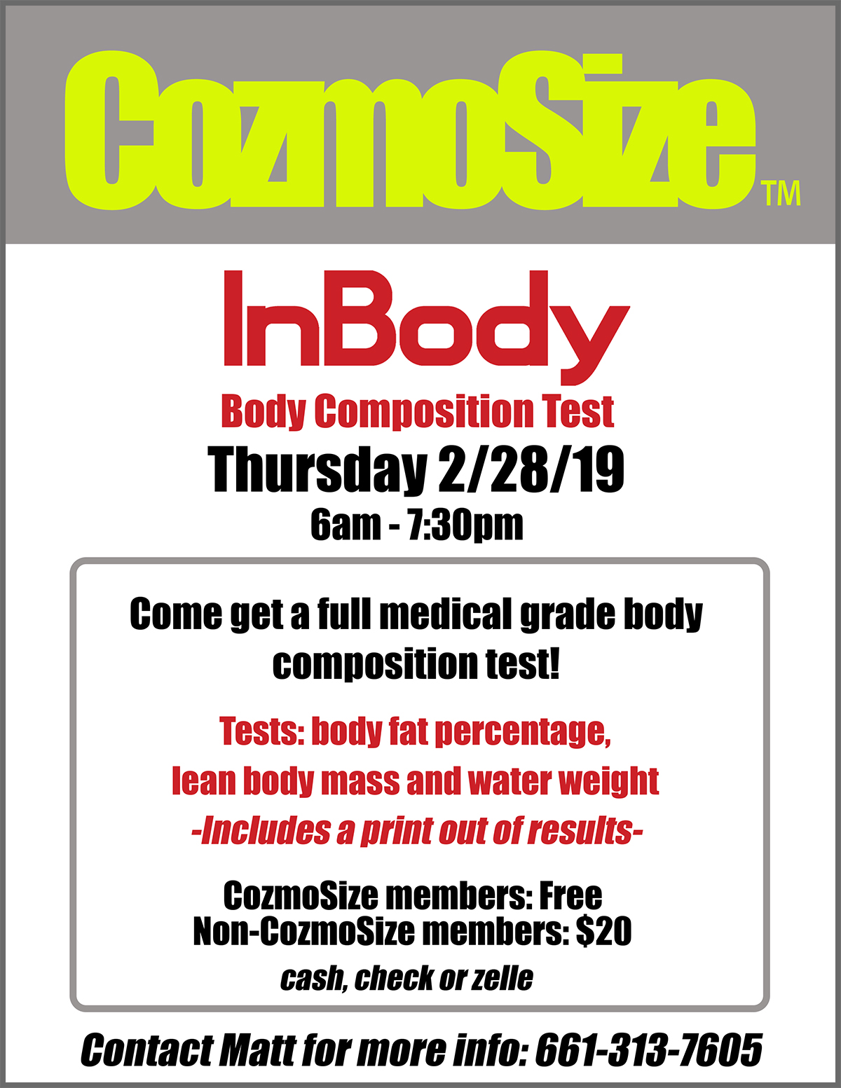 Santa Clarita Athletic Club, CozmoSize & InBody Body Composition Test