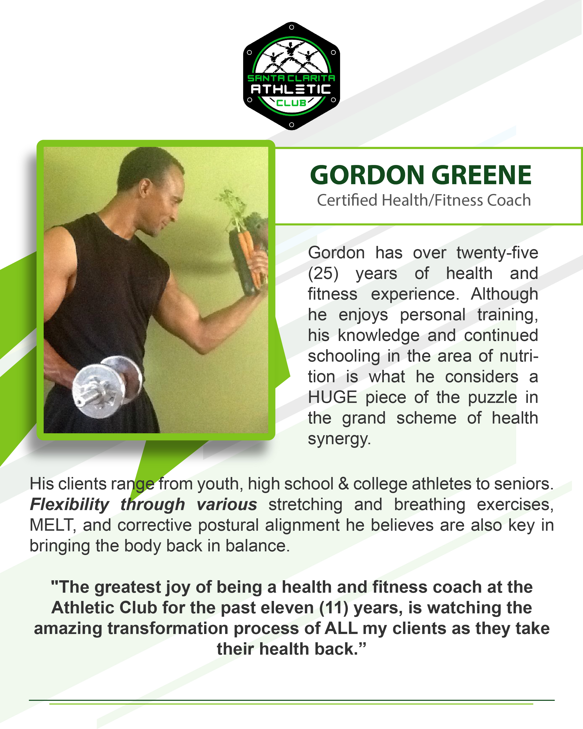 Gordon Greene - Certified Personal Trainer