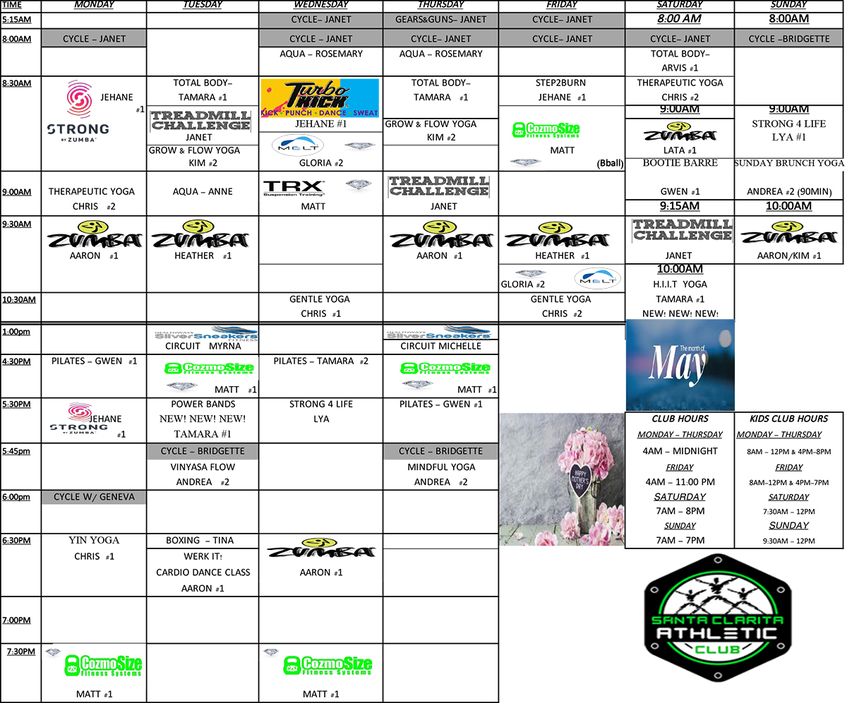 Santa Clarita Athletic Club - Group Fitness Class Schedule for May 2019