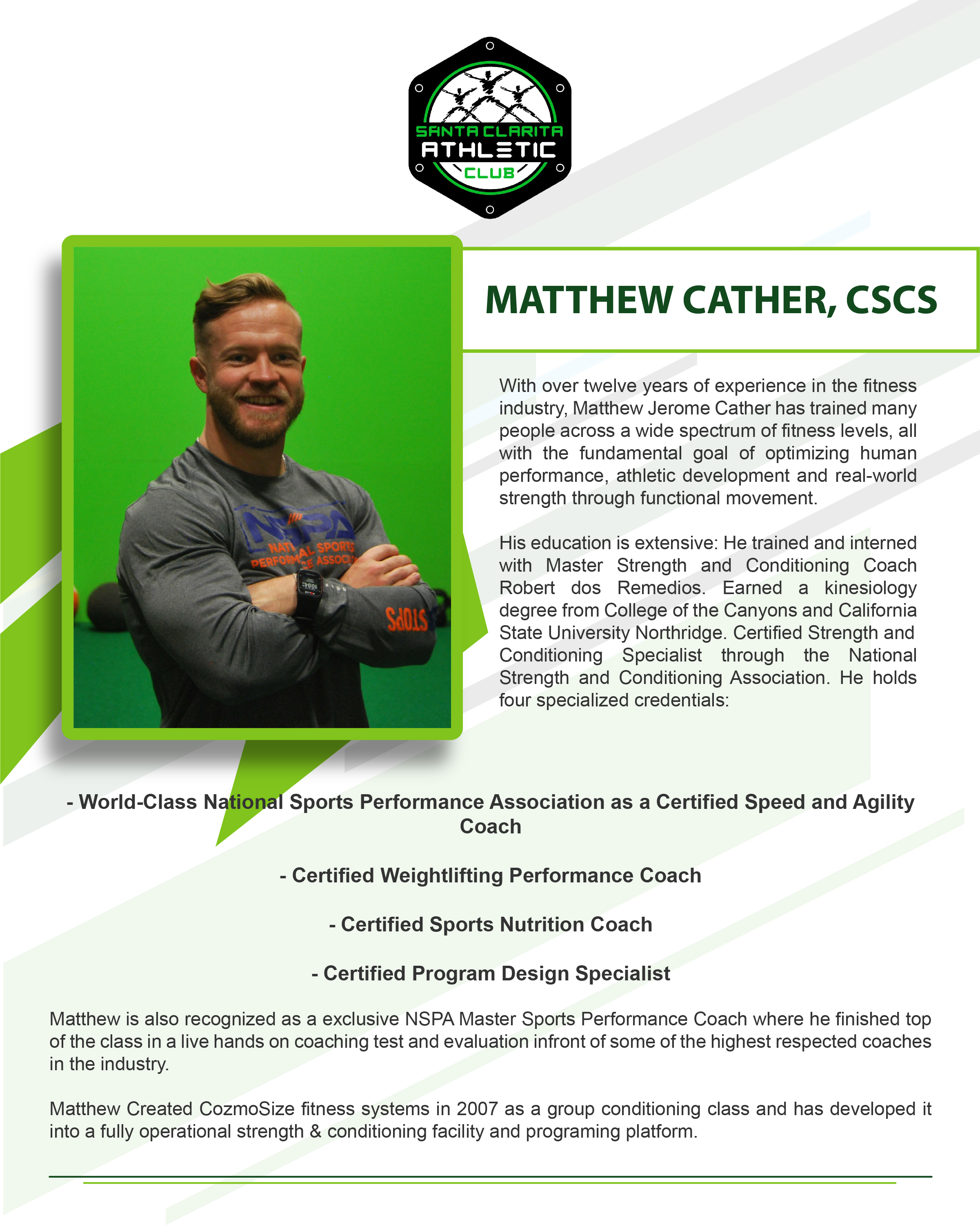 Matthew Cather - CSCS Certified Personal Trainer