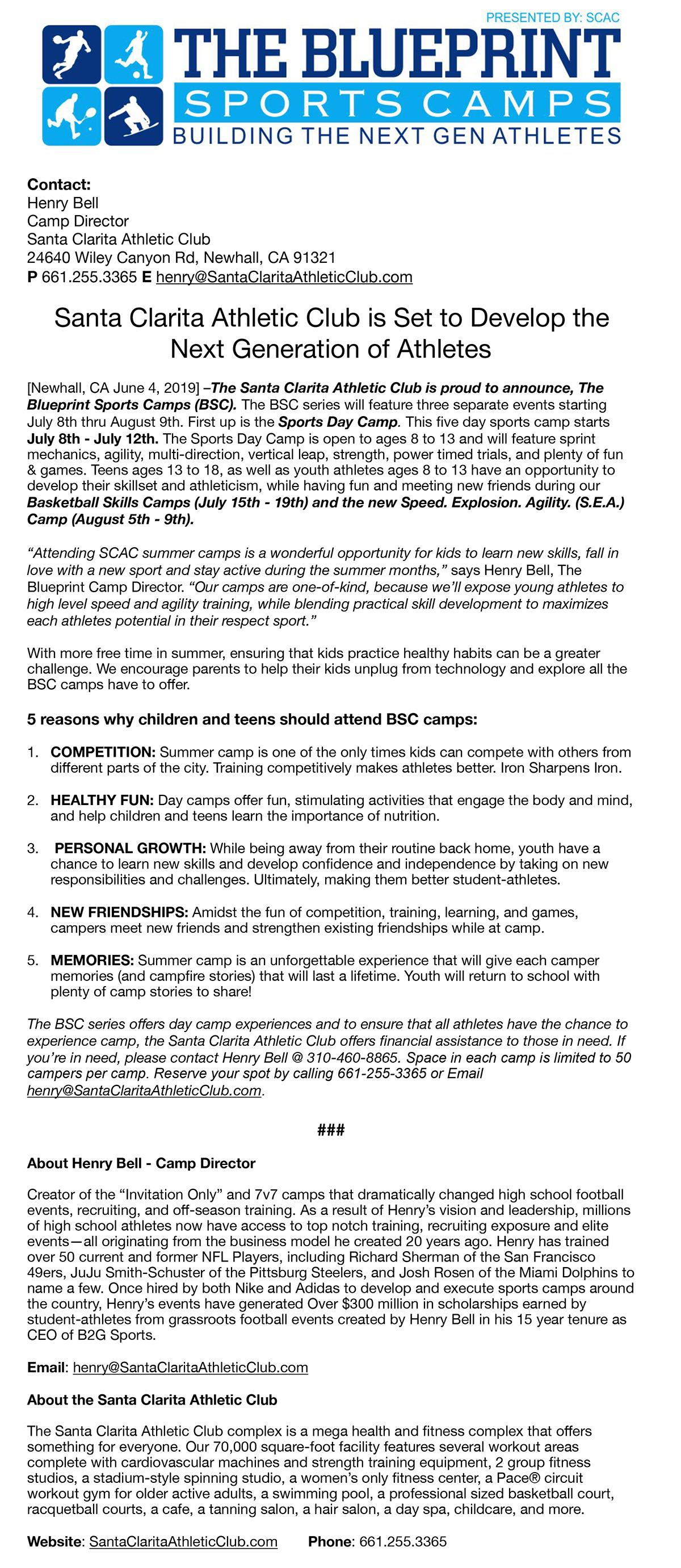 Blueprint Sports Camps Press Release