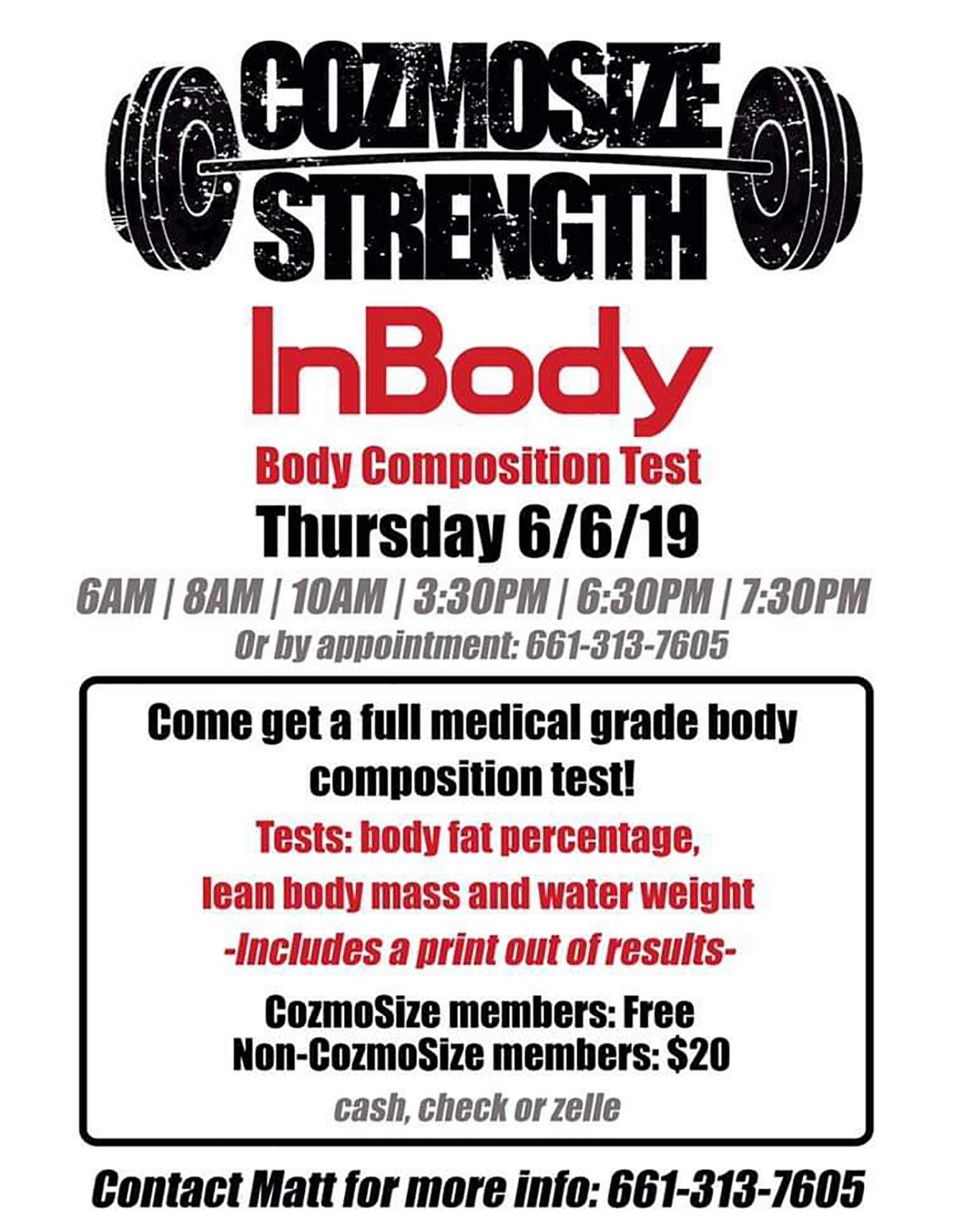 Santa Clarita Athletic Club, CozmoSize & InBody Body Composition Test